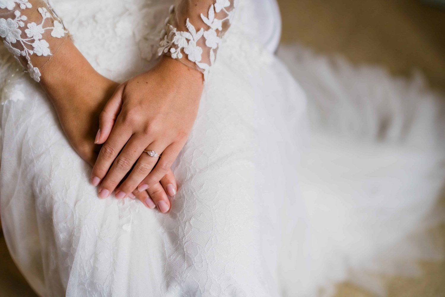 Brides hands during bridal prep