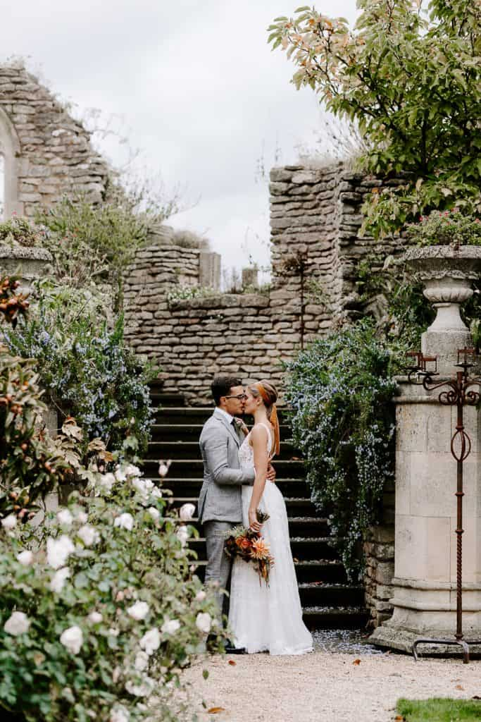 Bride and groom at lost orangery