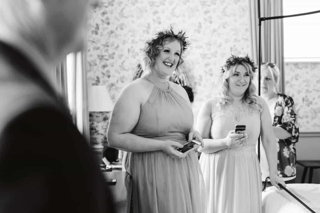 Bridesmaid seeing bride for first time