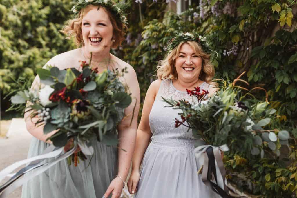 Laughing bridesmaids at Knighton House Dorset