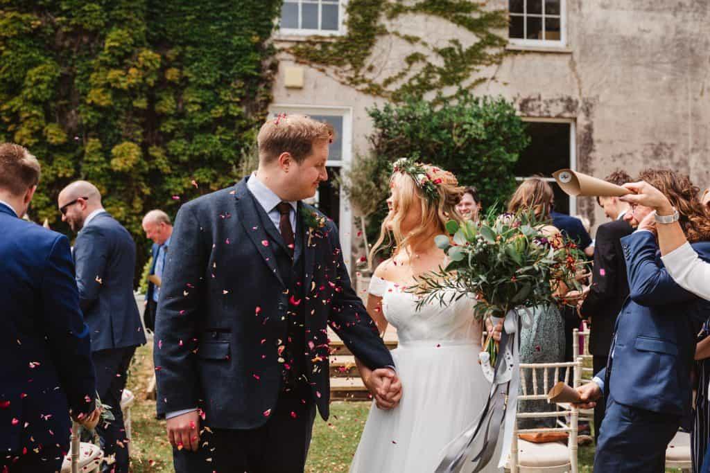 Confetti throw at Knighton House wedding