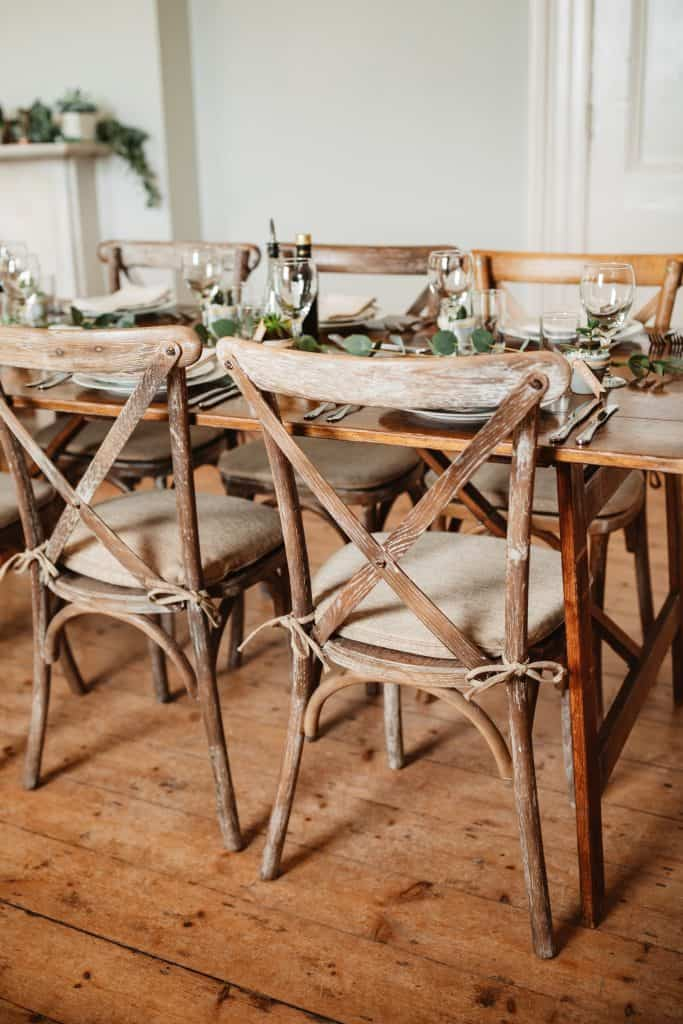 Cross back wedding chair